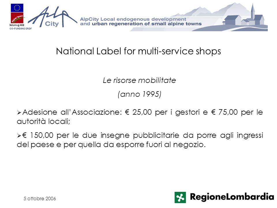5 ottobre 2006 Adesione allAssociazione: 25,00 per i gestori e 75,00 per le autorità locali; 150,00 per le due insegne pubblicitarie da porre agli ing