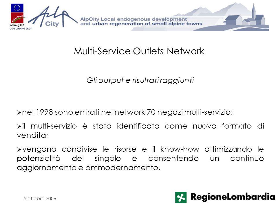 5 ottobre 2006 nel 1998 sono entrati nel network 70 negozi multi-servizio; il multi-servizio è stato identificato come nuovo formato di vendita; vengo