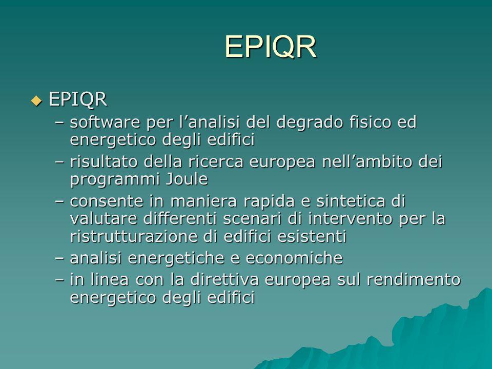 EPIQR EPIQR EPIQR –software per lanalisi del degrado fisico ed energetico degli edifici –risultato della ricerca europea nellambito dei programmi Joul