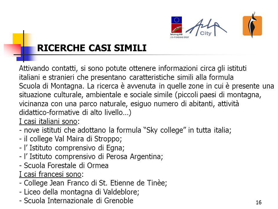 16 RICERCHE CASI SIMILI Attivando contatti, si sono potute ottenere informazioni circa gli istituti italiani e stranieri che presentano caratteristiche simili alla formula Scuola di Montagna.