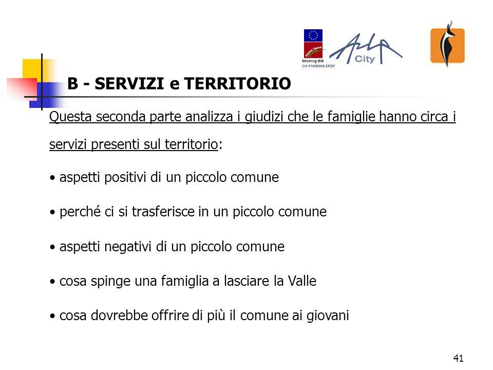 42 B - SERVIZI e TERRITORIO Quali sono gli aspetti positivi del vivere in un piccolo comune.