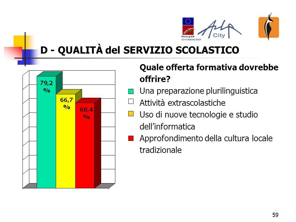 60 D - QUALITÀ del SERVIZIO SCOLASTICO Quali modelli pedagogici e didattici .