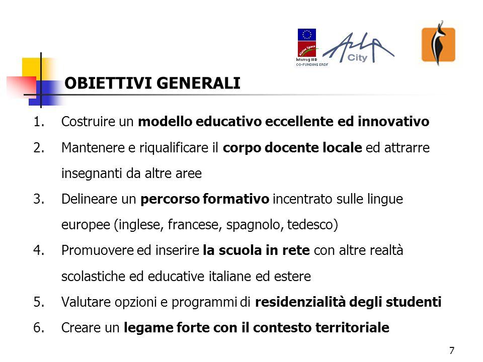 8 1.Costruire un modello educativo eccellente ed innovativo: indirizzata a tutti gli ordini di scuola dalla scuola primaria alla scuola superiore (formazione liceale accanto alla formazione professionale) per la popolazione studentesca locale e per quella che si intende attrarre dalle aree limitrofe: provincia di Cuneo, regione Piemonte, Liguria di ponente.