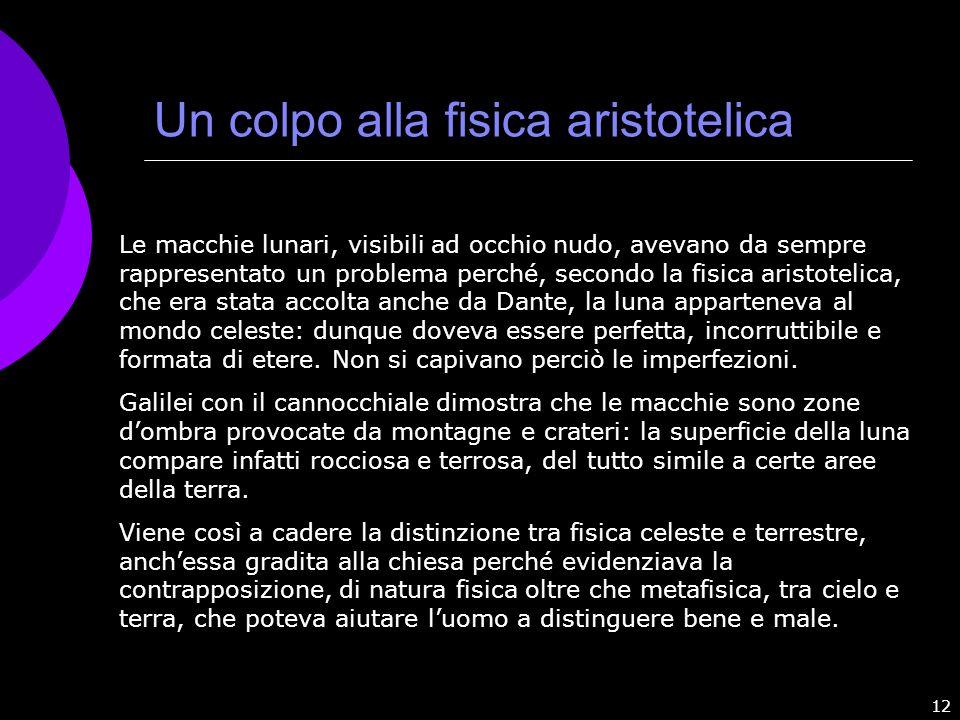 12 Un colpo alla fisica aristotelica Le macchie lunari, visibili ad occhio nudo, avevano da sempre rappresentato un problema perché, secondo la fisica