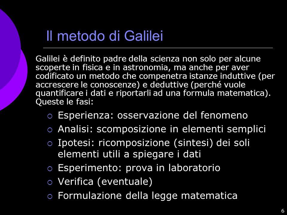 6 Il metodo di Galilei Esperienza: osservazione del fenomeno Analisi: scomposizione in elementi semplici Ipotesi: ricomposizione (sintesi) dei soli el