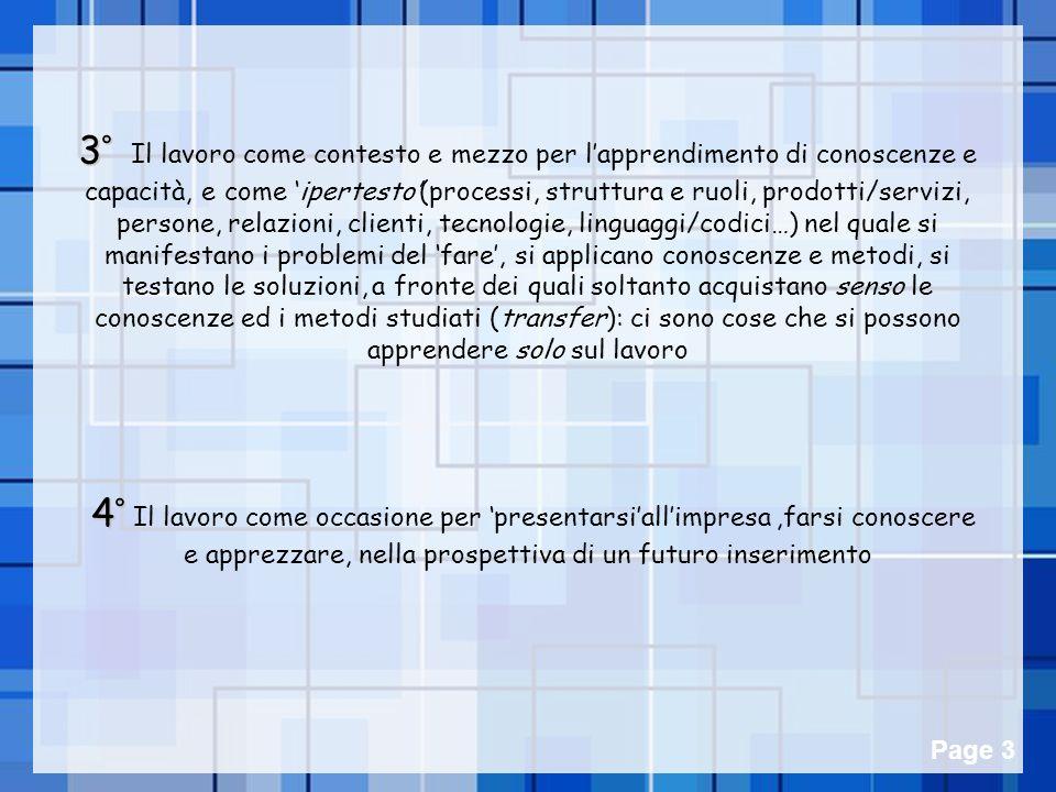 Powerpoint Templates Page 3 3° 3° Il lavoro come contesto e mezzo per lapprendimento di conoscenze e capacità, e come ipertesto(processi, struttura e