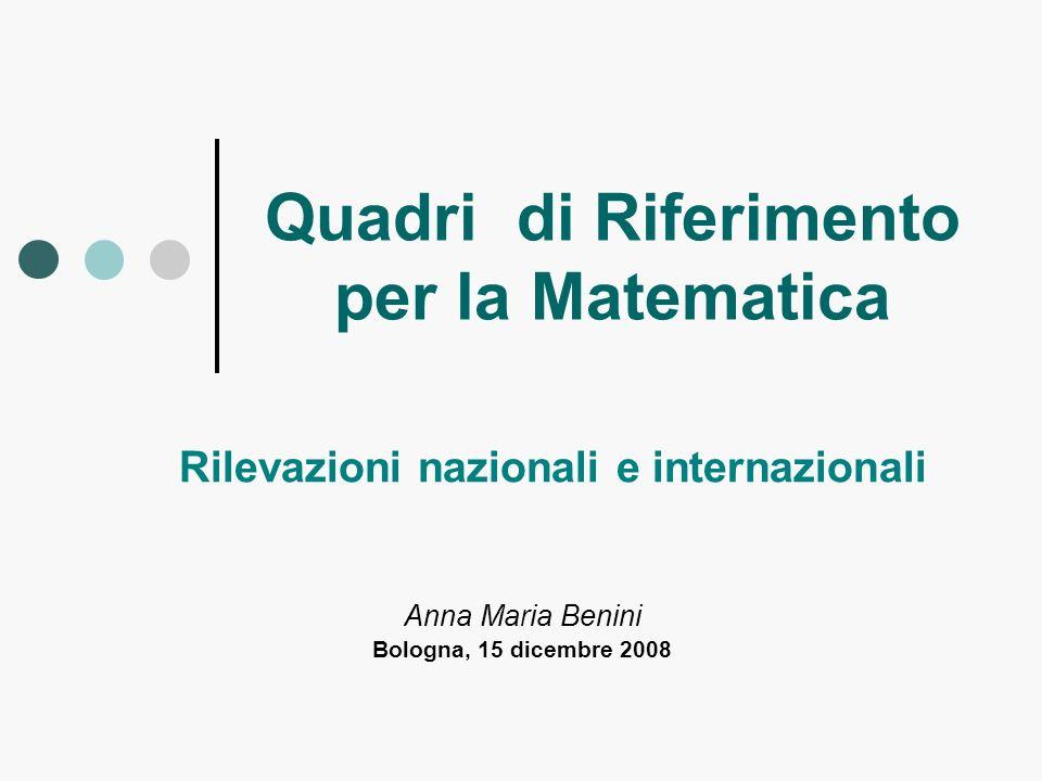 Quadri di Riferimento per la Matematica Anna Maria Benini Bologna, 15 dicembre 2008 Rilevazioni nazionali e internazionali