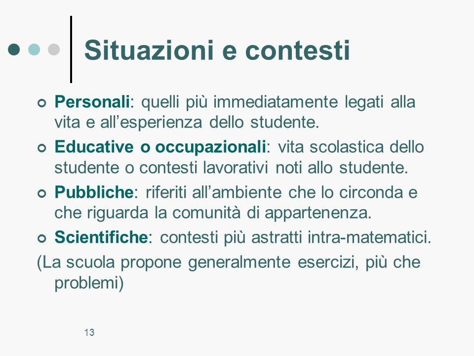 13 Situazioni e contesti Personali: quelli più immediatamente legati alla vita e allesperienza dello studente. Educative o occupazionali: vita scolast