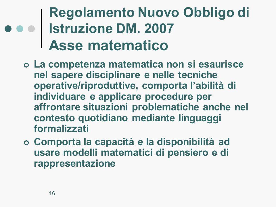 16 Regolamento Nuovo Obbligo di Istruzione DM. 2007 Asse matematico La competenza matematica non si esaurisce nel sapere disciplinare e nelle tecniche