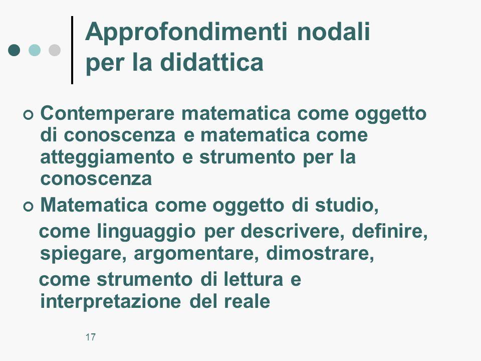17 Approfondimenti nodali per la didattica Contemperare matematica come oggetto di conoscenza e matematica come atteggiamento e strumento per la conos