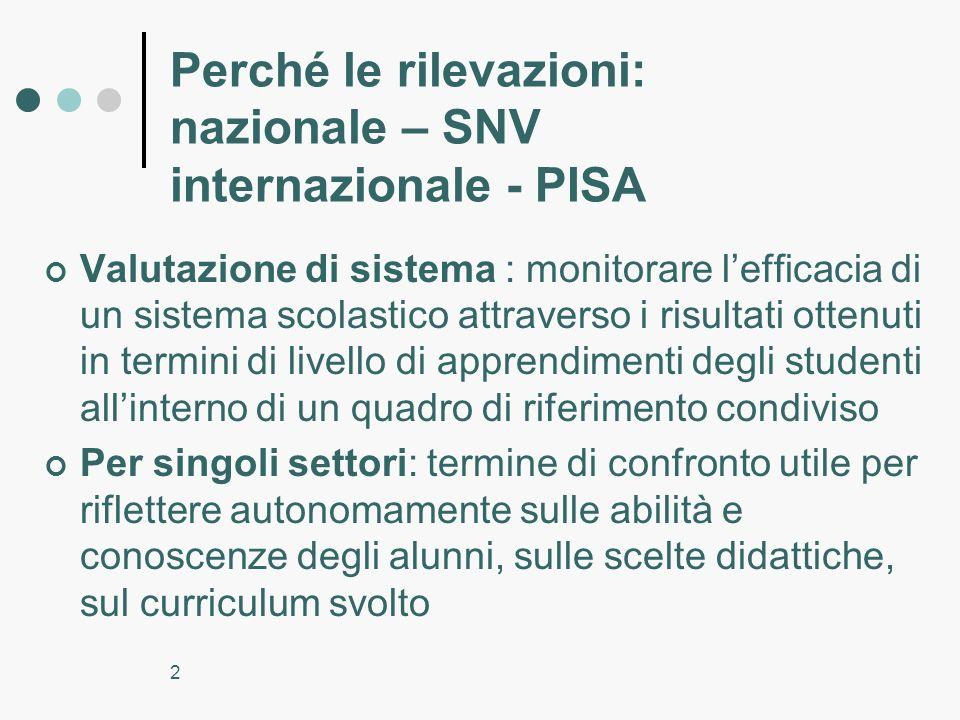 2 Perché le rilevazioni: nazionale – SNV internazionale - PISA Valutazione di sistema : monitorare lefficacia di un sistema scolastico attraverso i ri