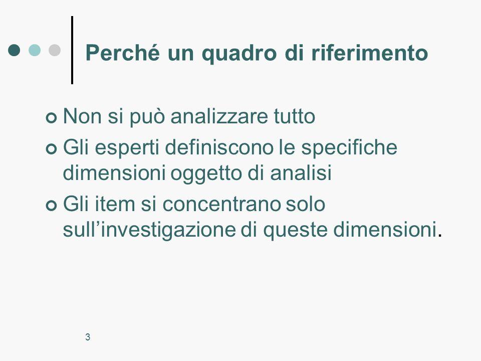 3 Perché un quadro di riferimento Non si può analizzare tutto Gli esperti definiscono le specifiche dimensioni oggetto di analisi Gli item si concentr