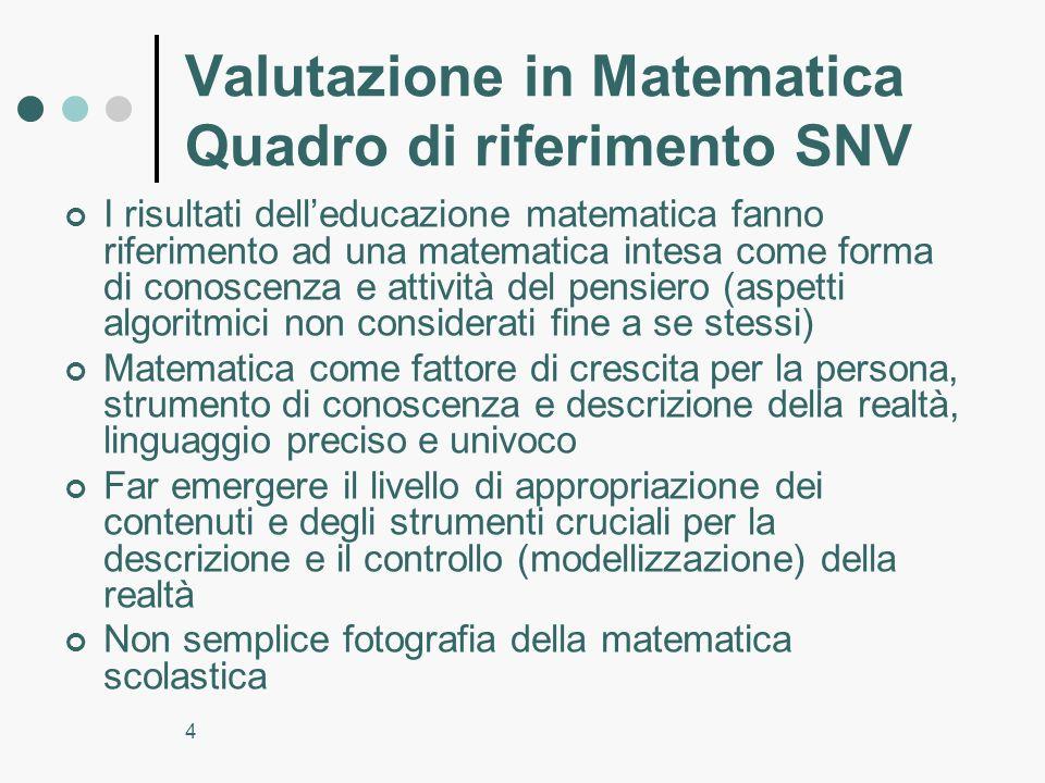 4 Valutazione in Matematica Quadro di riferimento SNV I risultati delleducazione matematica fanno riferimento ad una matematica intesa come forma di c