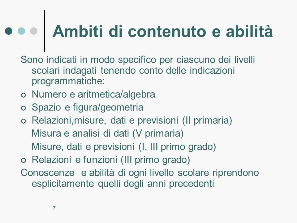 7 Ambiti di contenuto e abilità Sono indicati in modo specifico per ciascuno dei livelli scolari indagati tenendo conto delle indicazioni programmatic