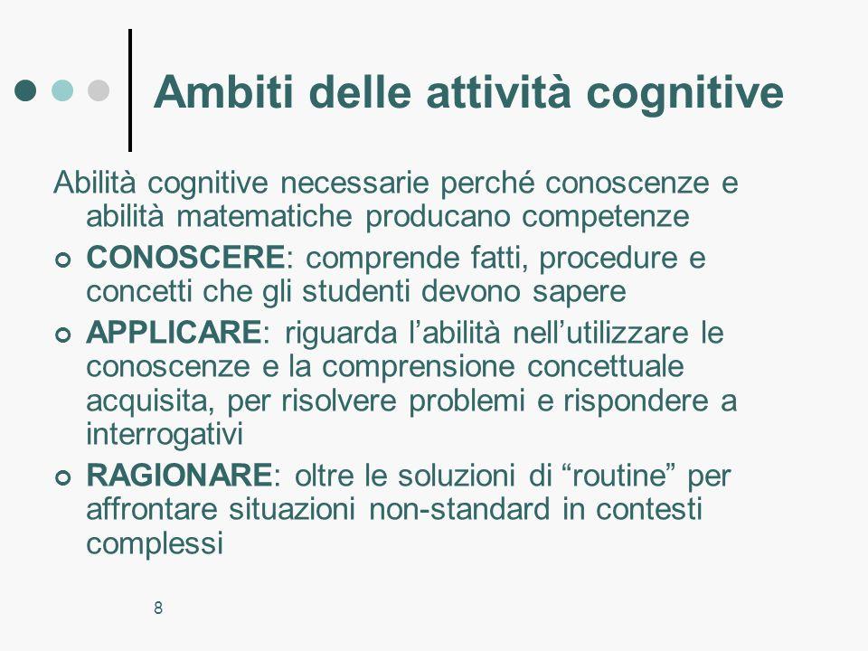 8 Ambiti delle attività cognitive Abilità cognitive necessarie perché conoscenze e abilità matematiche producano competenze CONOSCERE: comprende fatti