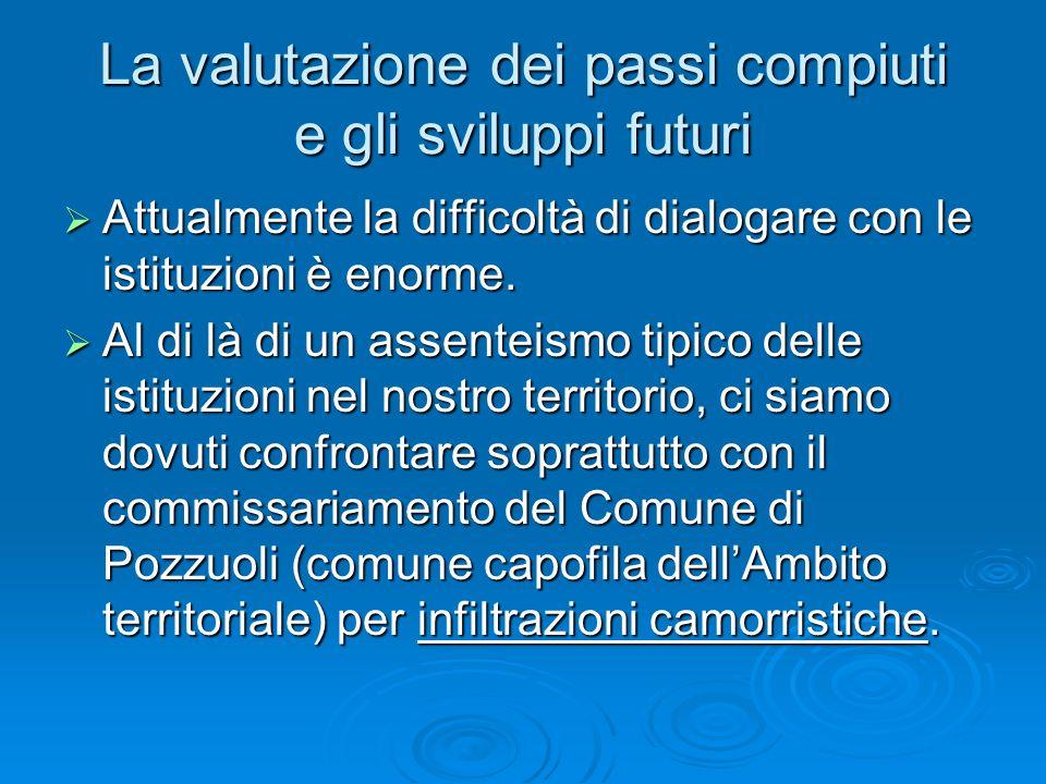 La valutazione dei passi compiuti e gli sviluppi futuri Attualmente la difficoltà di dialogare con le istituzioni è enorme.
