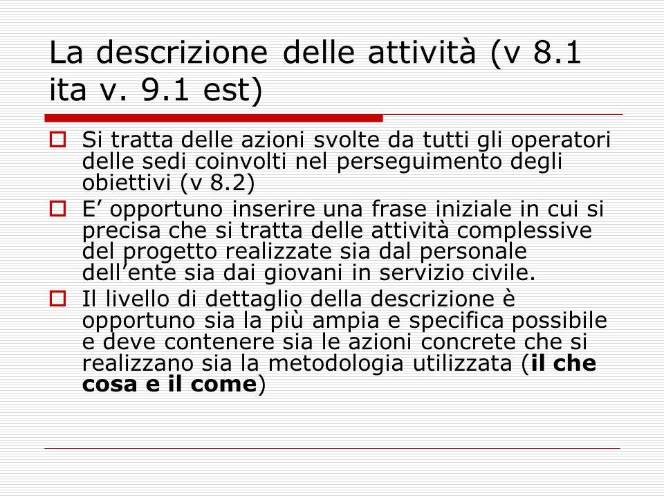 La descrizione delle attività (v 8.1 ita v.