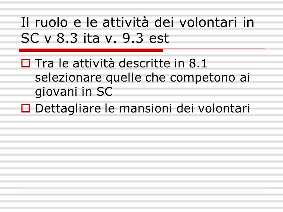 Il ruolo e le attività dei volontari in SC v 8.3 ita v.