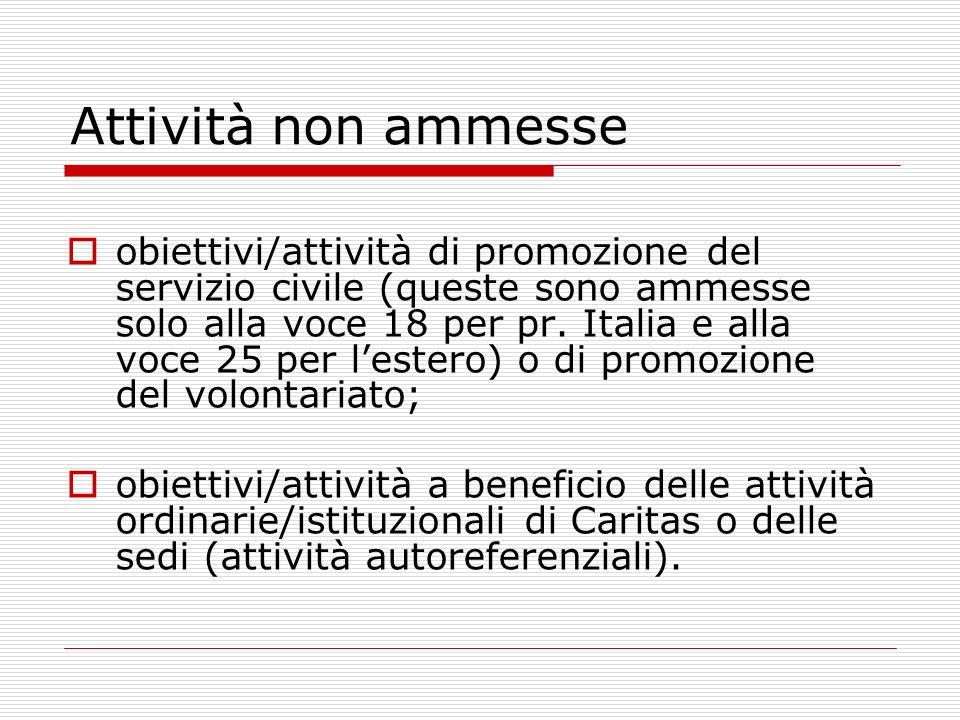 Attività non ammesse obiettivi/attività di promozione del servizio civile (queste sono ammesse solo alla voce 18 per pr.