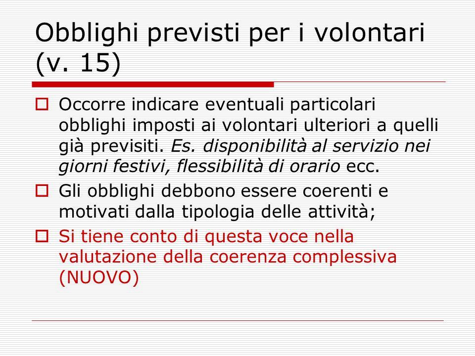Obblighi previsti per i volontari (v.