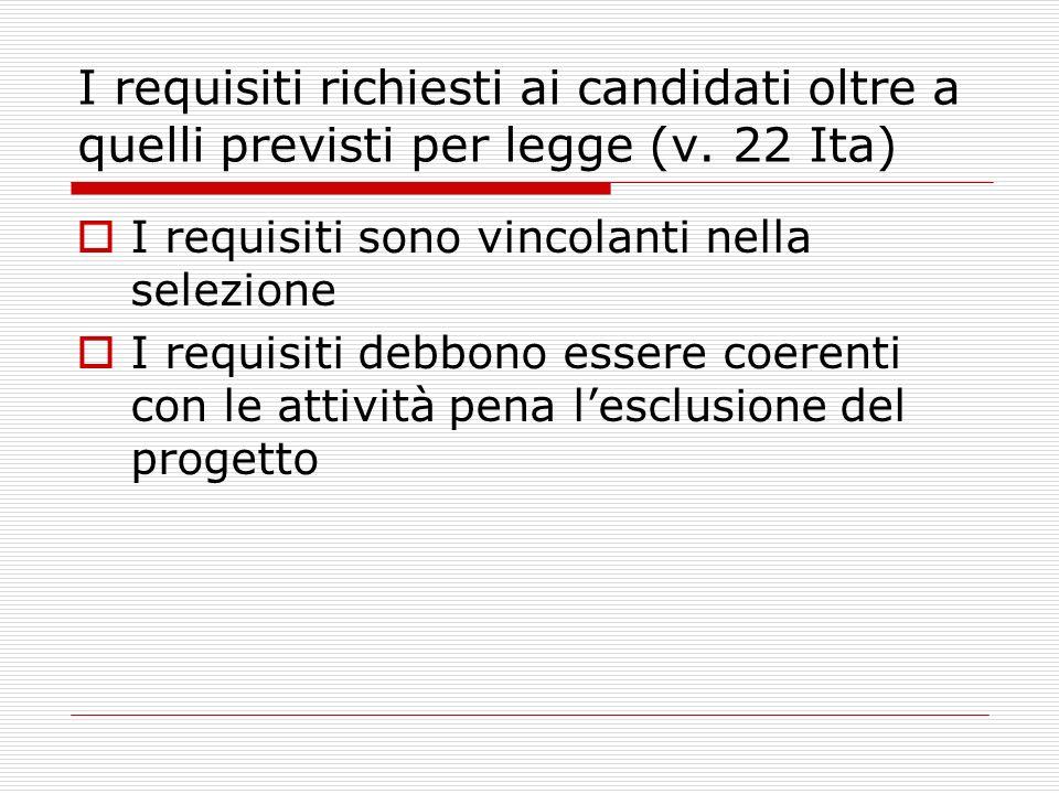 I requisiti richiesti ai candidati oltre a quelli previsti per legge (v.