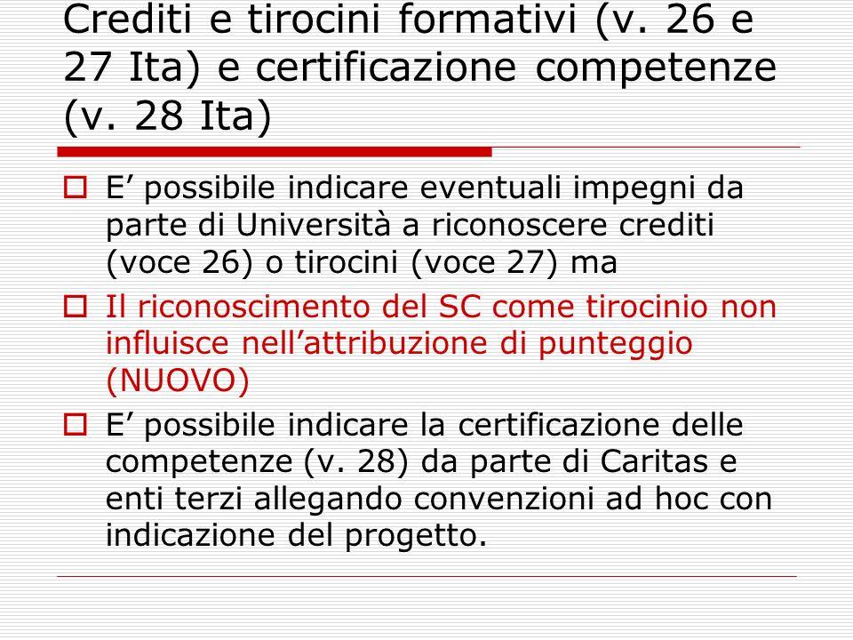 Crediti e tirocini formativi (v. 26 e 27 Ita) e certificazione competenze (v.