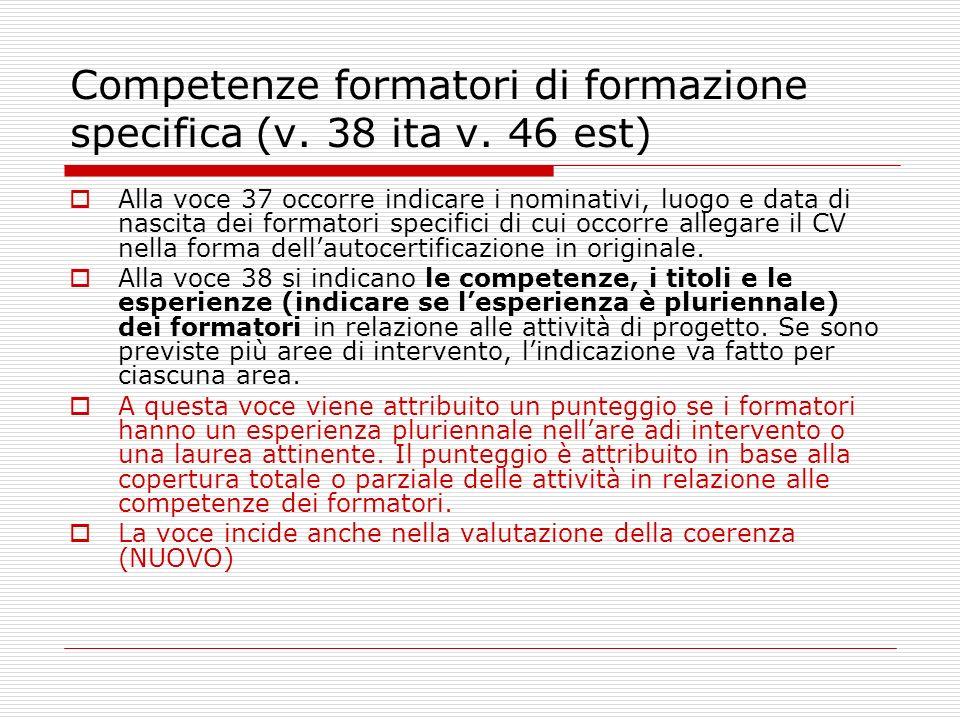 Competenze formatori di formazione specifica (v. 38 ita v.