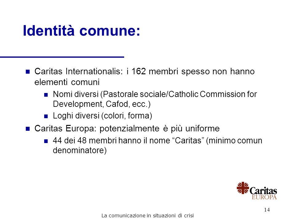 14 n Caritas Internationalis: i 162 membri spesso non hanno elementi comuni n Nomi diversi (Pastorale sociale/Catholic Commission for Development, Caf