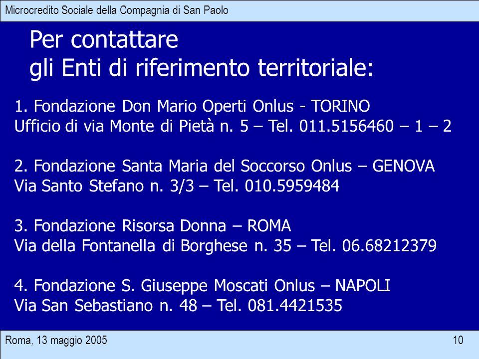 Roma, 13 maggio 2005 10 Per contattare gli Enti di riferimento territoriale: Microcredito Sociale della Compagnia di San Paolo 1. Fondazione Don Mario