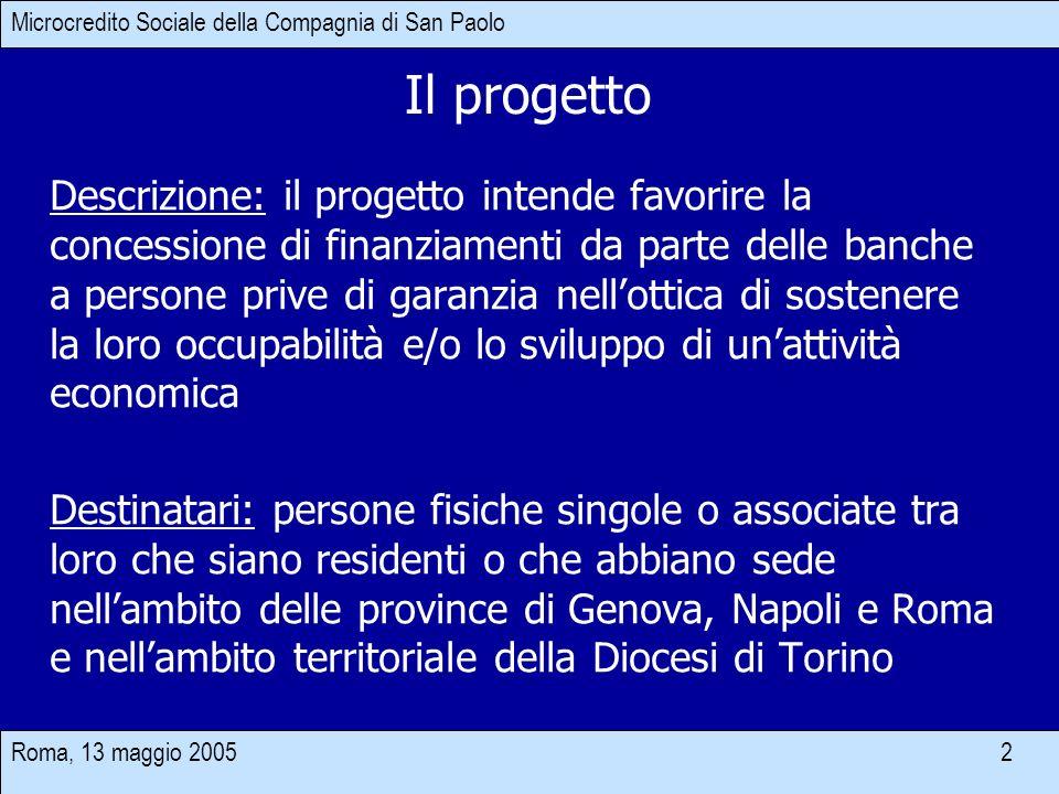 Roma, 13 maggio 2005 2 Microcredito Sociale della Compagnia di San Paolo Descrizione: il progetto intende favorire la concessione di finanziamenti da