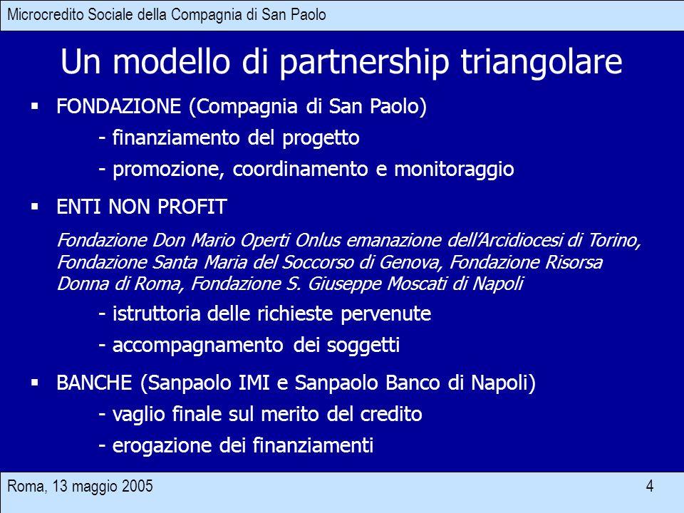 Roma, 13 maggio 2005 4 Un modello di partnership triangolare FONDAZIONE (Compagnia di San Paolo) - finanziamento del progetto - promozione, coordiname