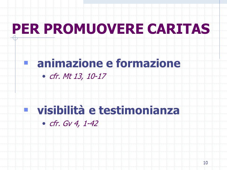 10 PER PROMUOVERE CARITAS animazione e formazione cfr. Mt 13, 10-17 visibilità e testimonianza cfr. Gv 4, 1-42
