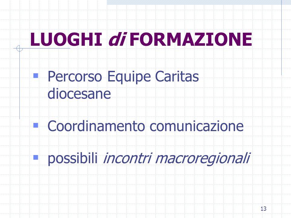 13 LUOGHI di FORMAZIONE Percorso Equipe Caritas diocesane Coordinamento comunicazione possibili incontri macroregionali