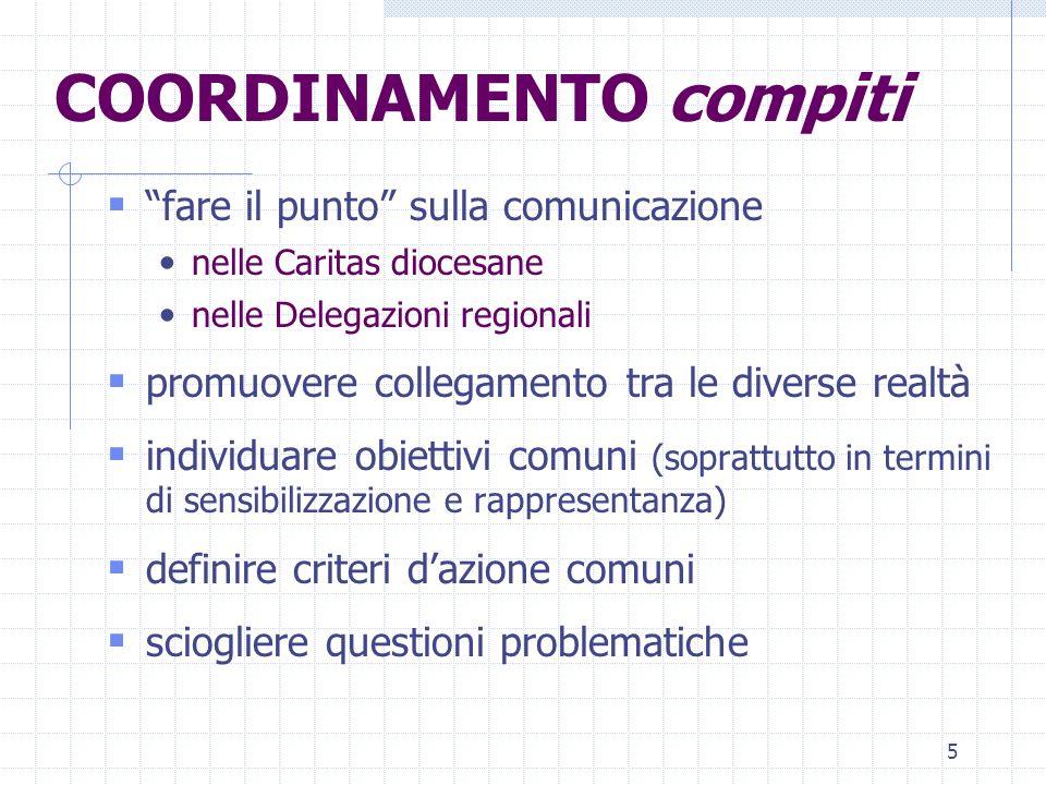 5 COORDINAMENTO compiti fare il punto sulla comunicazione nelle Caritas diocesane nelle Delegazioni regionali promuovere collegamento tra le diverse r