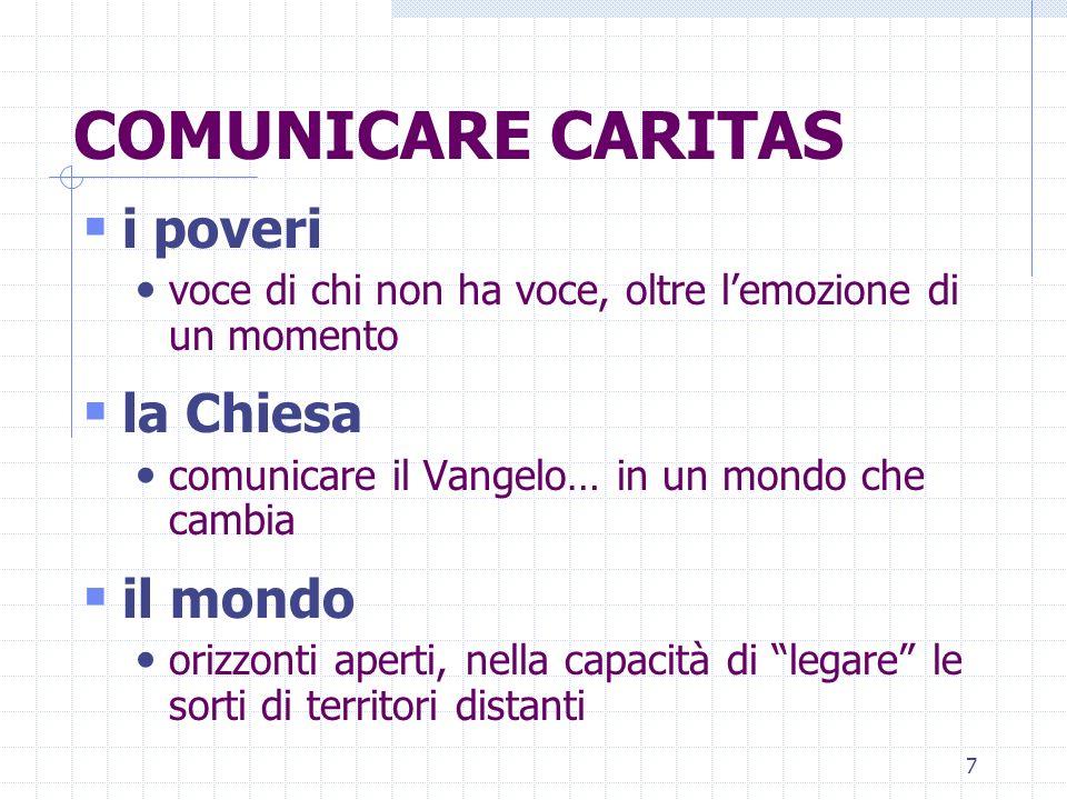 8 TESSERE RETI… SUL TERRITORIO Caritas diocesana Delegazione regionale Caritas Caritas Italiana Caritas Europa Caritas Internationalis