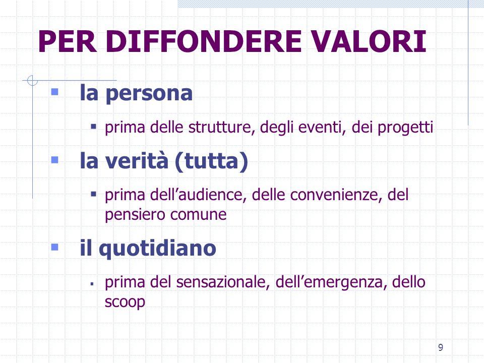 9 PER DIFFONDERE VALORI la persona prima delle strutture, degli eventi, dei progetti la verità (tutta) prima dellaudience, delle convenienze, del pens