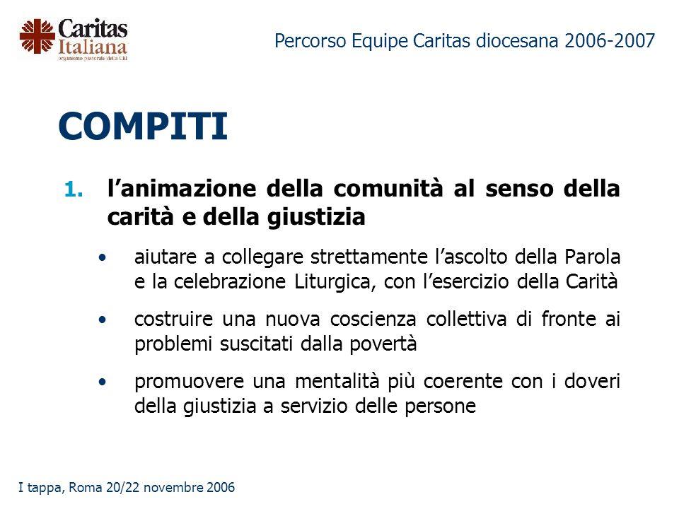 Percorso Equipe Caritas diocesana 2006-2007 I tappa, Roma 20/22 novembre 2006 COMPITI 1.
