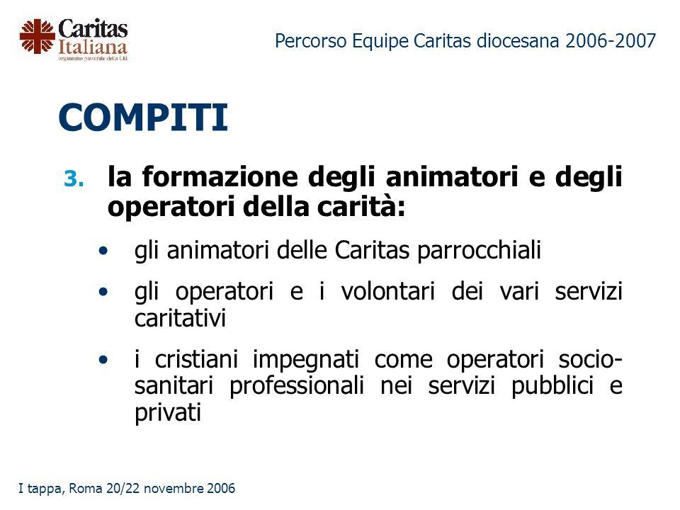 Percorso Equipe Caritas diocesana 2006-2007 I tappa, Roma 20/22 novembre 2006 3.