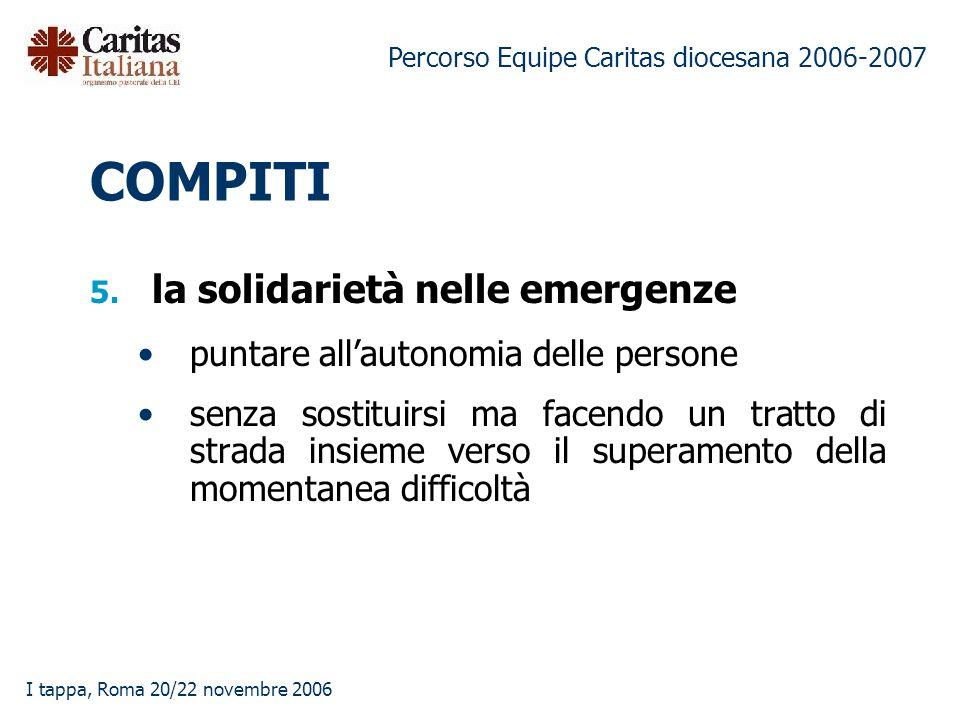 Percorso Equipe Caritas diocesana 2006-2007 I tappa, Roma 20/22 novembre 2006 5.