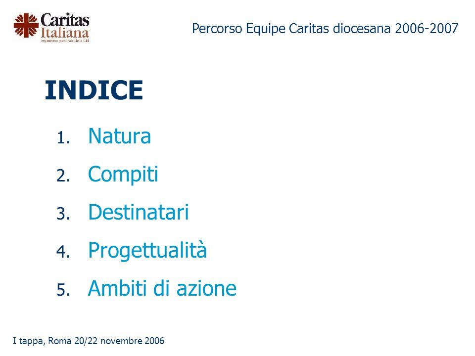 Percorso Equipe Caritas diocesana 2006-2007 I tappa, Roma 20/22 novembre 2006 INDICE 1.