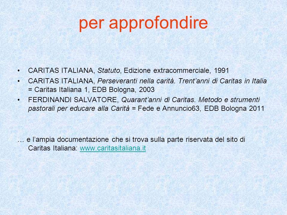per approfondire CARITAS ITALIANA, Statuto, Edizione extracommerciale, 1991 CARITAS ITALIANA, Perseveranti nella carità.