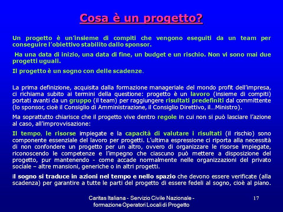 Caritas Italiana - Servizio Civile Nazionale - formazione Operatori Locali di Progetto 17 Cosa è un progetto? Un progetto è uninsieme di compiti che v