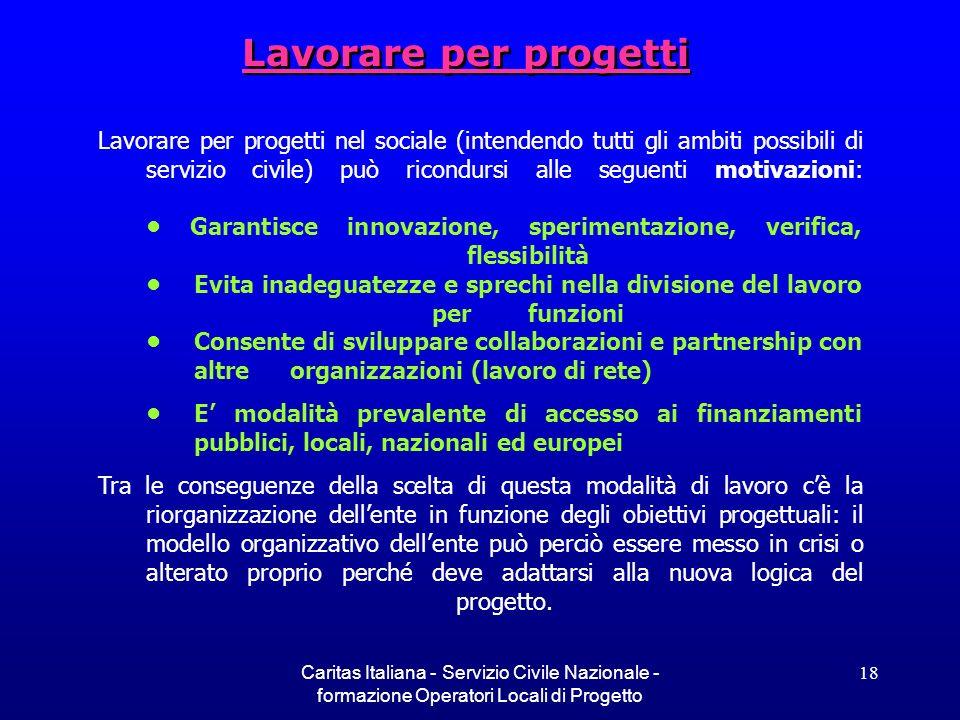 Caritas Italiana - Servizio Civile Nazionale - formazione Operatori Locali di Progetto 18 Lavorare per progetti Lavorare per progetti nel sociale (int