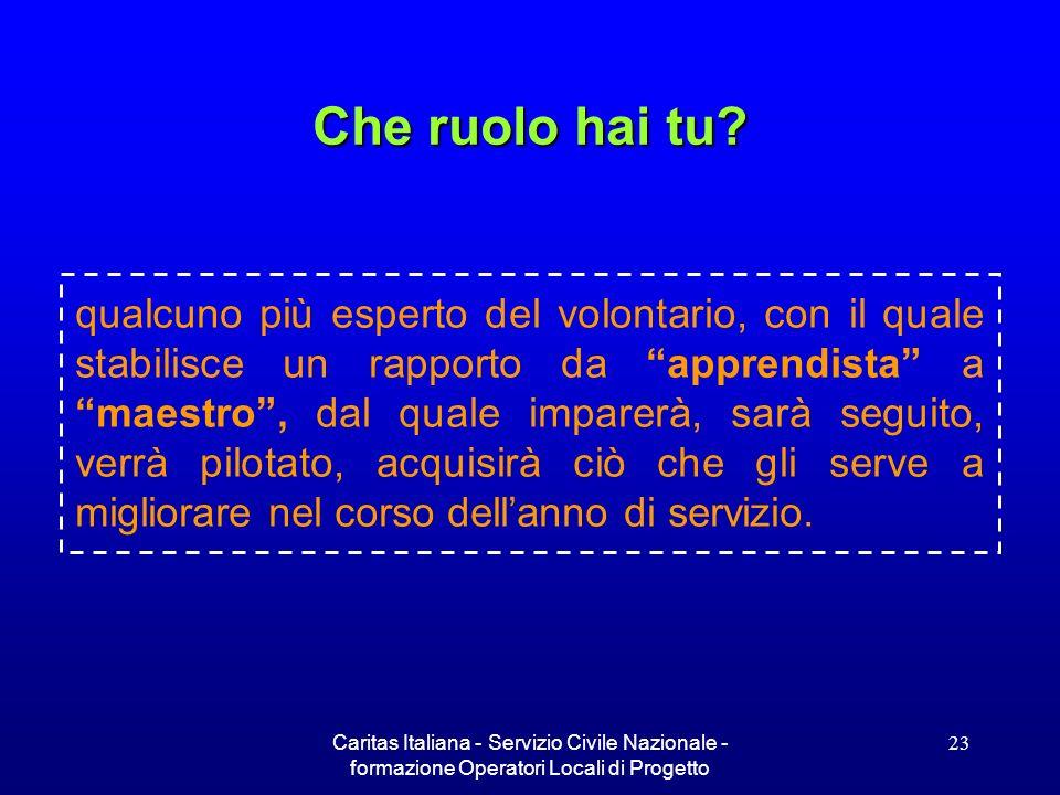 Caritas Italiana - Servizio Civile Nazionale - formazione Operatori Locali di Progetto 23 qualcuno più esperto del volontario, con il quale stabilisce