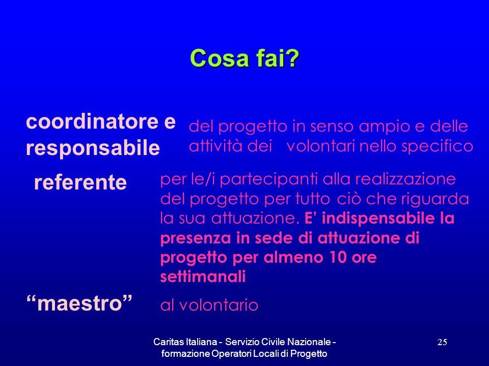 Caritas Italiana - Servizio Civile Nazionale - formazione Operatori Locali di Progetto 25 Cosa fai? per le/i partecipanti alla realizzazione del proge