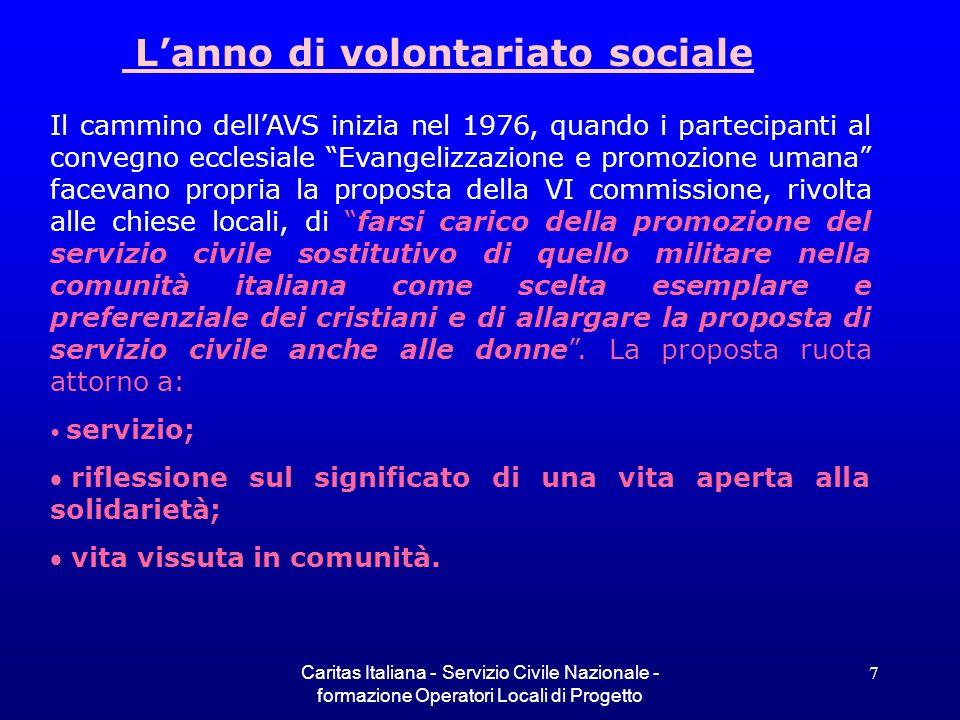 Caritas Italiana - Servizio Civile Nazionale - formazione Operatori Locali di Progetto 7 Lanno di volontariato sociale Il cammino dellAVS inizia nel 1