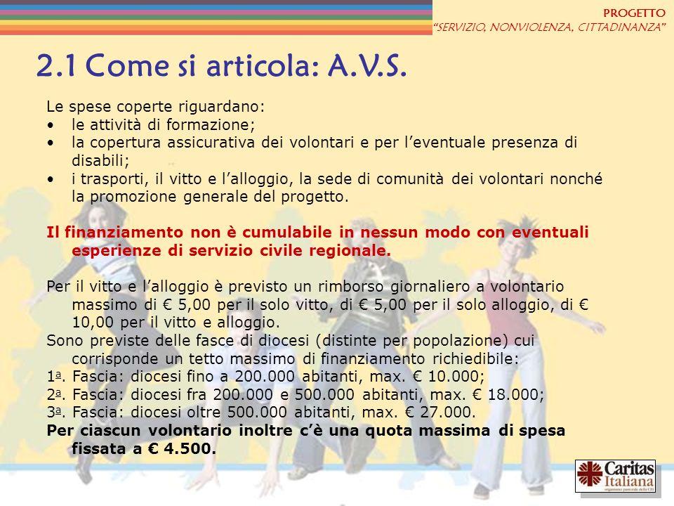PROGETTO SERVIZIO, NONVIOLENZA, CITTADINANZA 2.1 Come si articola: A.V.S. Le spese coperte riguardano: le attività di formazione; la copertura assicur