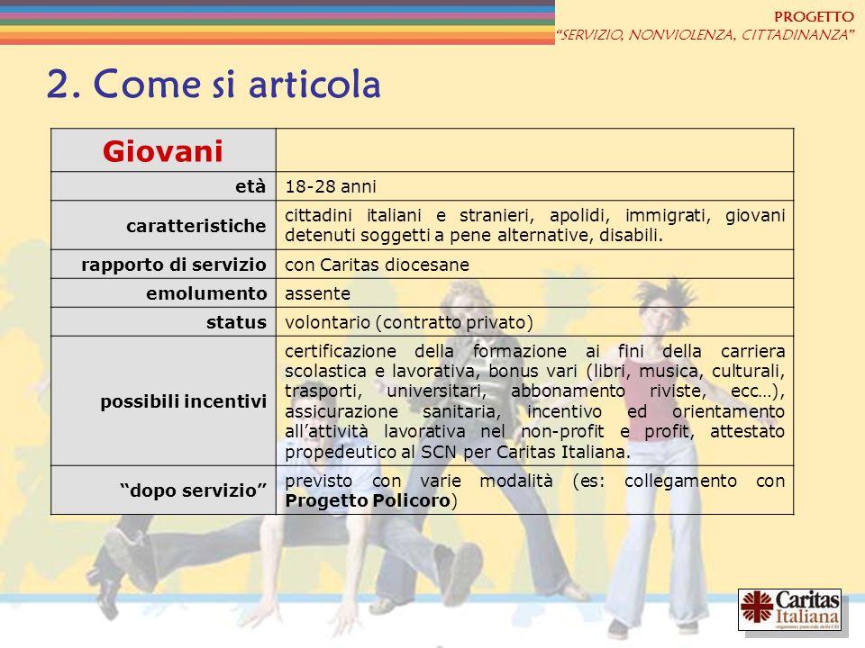 PROGETTO SERVIZIO, NONVIOLENZA, CITTADINANZA 2. Come si articola Giovani età18-28 anni caratteristiche cittadini italiani e stranieri, apolidi, immigr