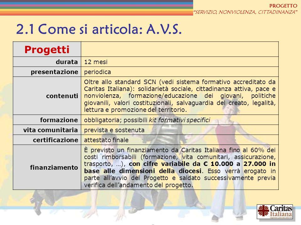 PROGETTO SERVIZIO, NONVIOLENZA, CITTADINANZA 2.1 Come si articola: A.V.S. Progetti durata12 mesi presentazioneperiodica contenuti Oltre allo standard