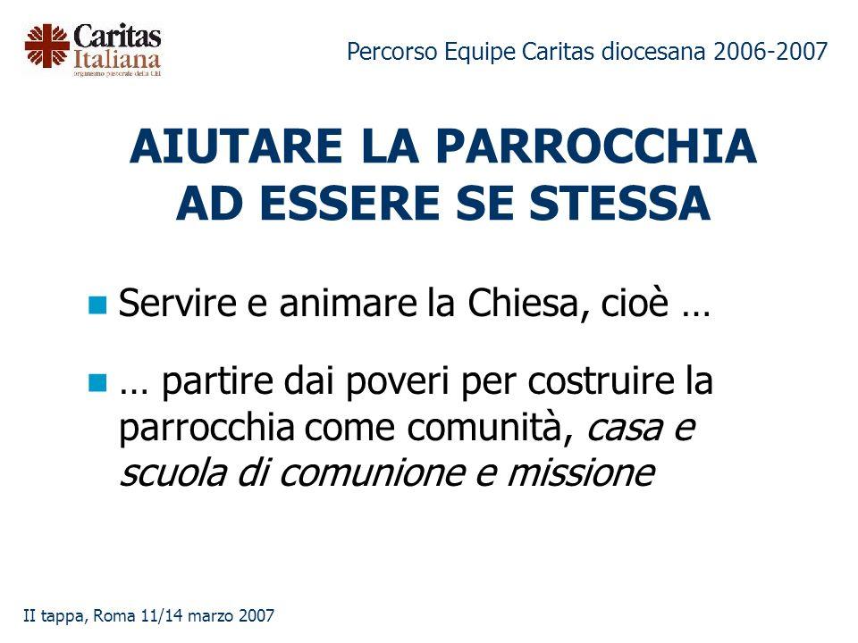 Percorso Equipe Caritas diocesana 2006-2007 II tappa, Roma 11/14 marzo 2007 AIUTARE LA PARROCCHIA AD ESSERE SE STESSA Servire e animare la Chiesa, cio